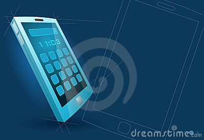 Vector modern blue touch screen device