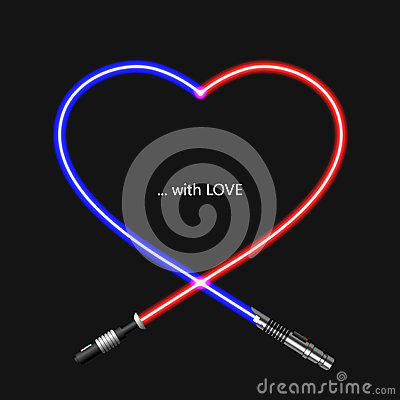 Free Vector Modern Concept Heart And Lightsaber For Valentines Day Stock Image - 83550641