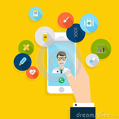 Free Vector Modern Creative Flat Design On Hand Holding Mobile Phone Royalty Free Stock Images - 61862329