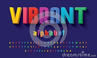 Vector of modern 3D bold alphabet design Vector Illustration
