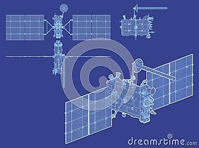 Vector modern GPS satellite