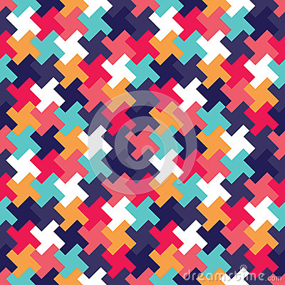 Free Vector Modern Seamless Colorful Geometry Puzzle Pattern, Color Abstract Royalty Free Stock Image - 64317616