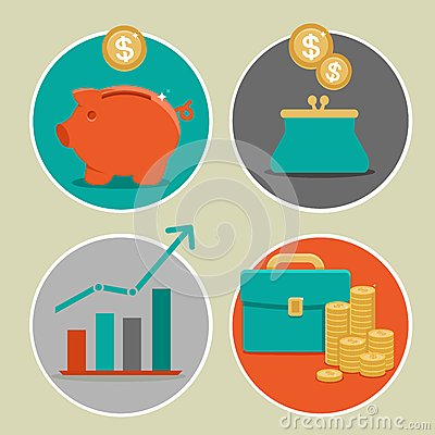 Free Vector Money And Business Icons In Flat Style Royalty Free Stock Image - 34853316