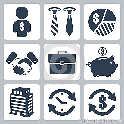 Free Vector Money Icons Set Royalty Free Stock Photography - 34981907