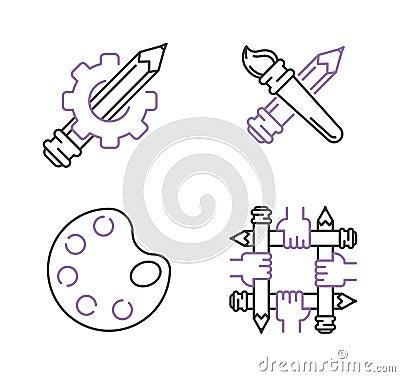 Vector mono art line icons set palette paint brush. Vector Illustration
