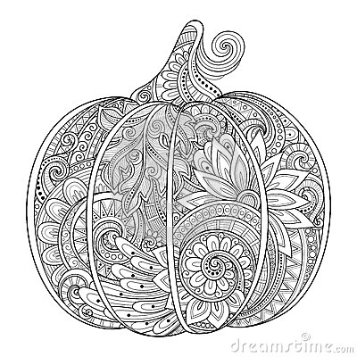 Free Vector Monochrome Decorative Punkim With Beautiful Pattern Royalty Free Stock Photography - 59588417