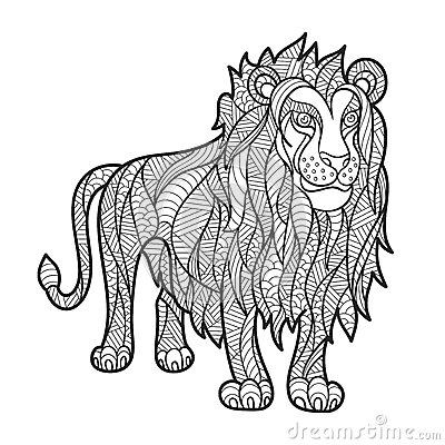 Free Vector Monochrome Hand Drawn Zentagle Illustration Of Lion. Stock Image - 71748661