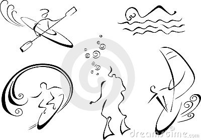Vector monochrome illustration of water sports