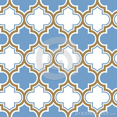 Vector moroccan repeat seamless pattern. Light blue, gold beige line on white background. Vector Illustration