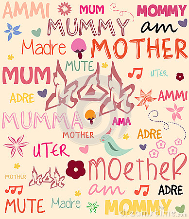Vector Mothers Day poster with words for mother in
