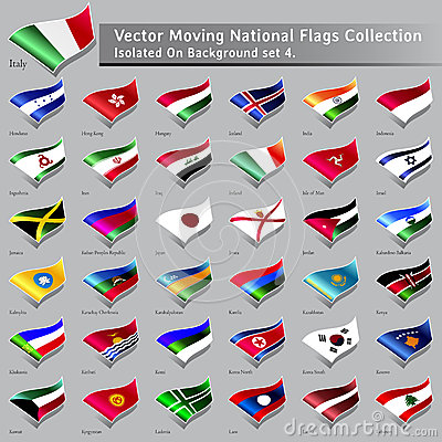 Vector moving National Flags of the world isolated