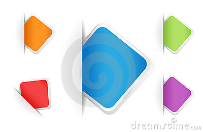 Vector multicolored rounded square notes