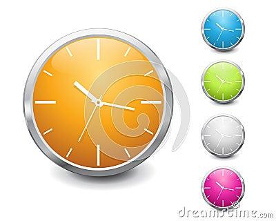 Vector multicolored shiny clock icon design