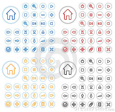 Free Vector Multimedia Buttons. Stock Photo - 9046090