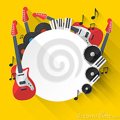 Free Vector Music Background In Flat Style Design Royalty Free Stock Photography - 45275257