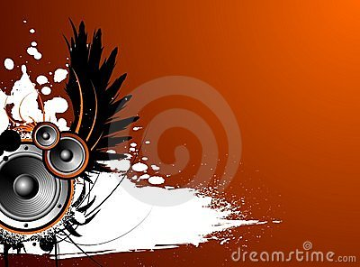 Vector music illustration with wing and blot