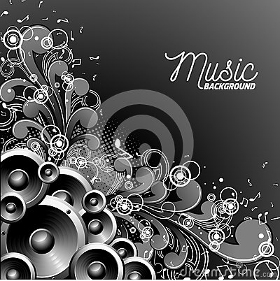 Free Vector Music Illustration With Speakers On Floral Background. Stock Photos - 86583353