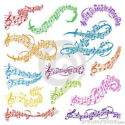 Vector music note melody symbols vector illustration Vector Illustration