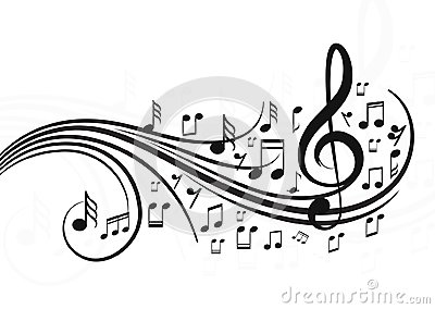 Music notes with waves. Vector Illustration