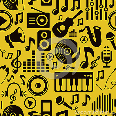 Free Vector Music Seamless Pattern With Icons Royalty Free Stock Image - 27460286