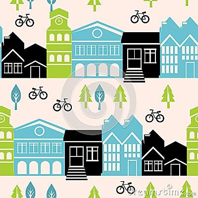Vector naadloos patroon met huizen en gebouwen