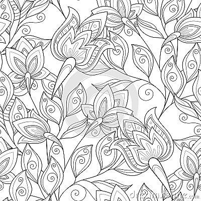 Vector naadloos zwart wit bloemenpatroon vector illustratie afbeelding 64113347 - Deco slaapkamer ontwerp volwassen ...