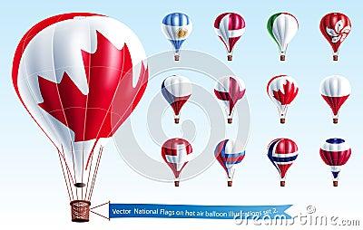 Vector  National Flags on hot air balloon