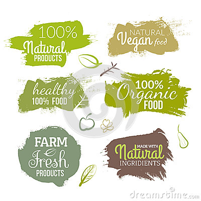 Free Vector Natural Organic Food Label. Farm Products Eco Design Watercolor Style Stock Photo - 72711870
