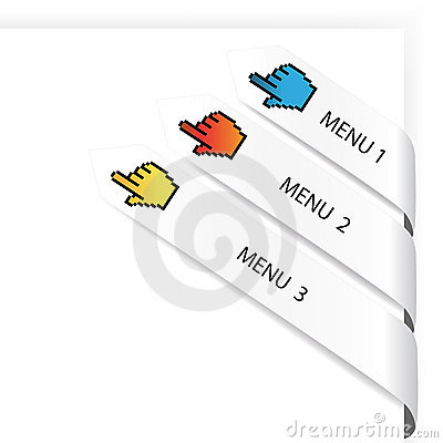 Vector navigation arrows with cursor of hand