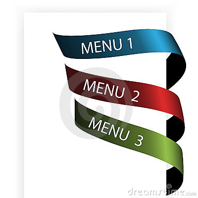 Vector navigation menu on the white paper