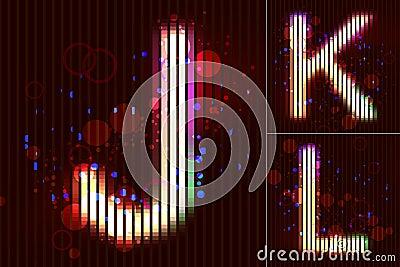 Vector Neon Light Alphabet - J K L