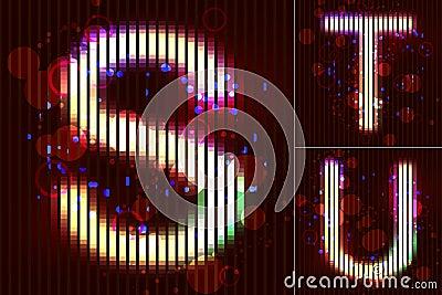 Vector Neon Light Alphabet - S T U