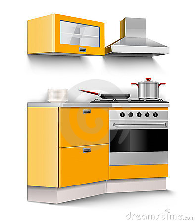 Vector new kitchen room furniture isolated
