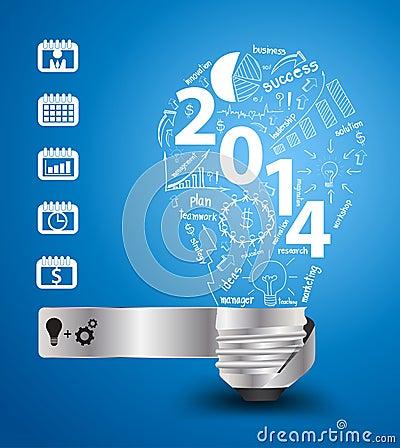Vector 2014 new year with creative light bulb idea