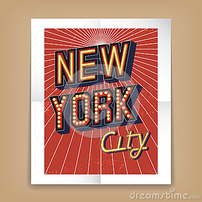 Vector New York City Poster Stock Vector Image #2: vector new york city poster text fonts form neon electric signs brown background radiating rays