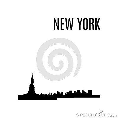 Vector New York City skyline black silhouette. USA landmark Cartoon Illustration