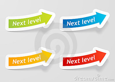 Vector next level message on arrow stickers set.