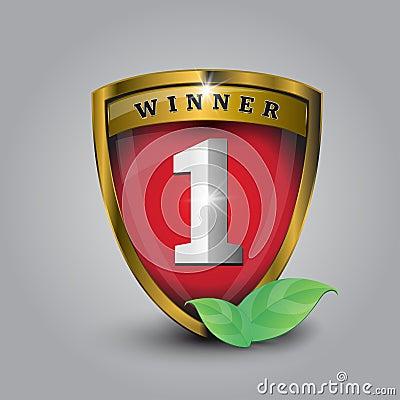 Vector No 1 Winner Golden Label Shield Royalty Free