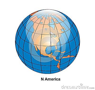 vector North America Globe