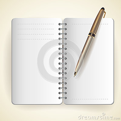 Vector of notepad and pen