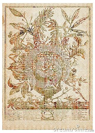 Vector o ramalhete da flor do Victorian no vaso com texto