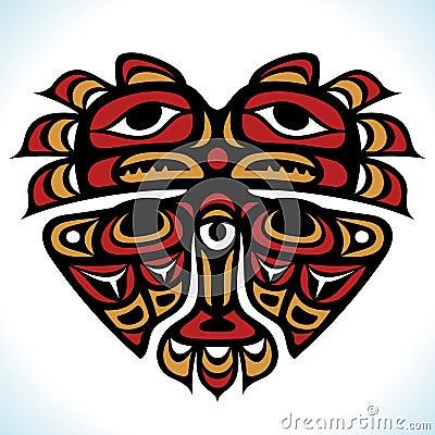 Vector o teste padrão indiano na fôrma do coração