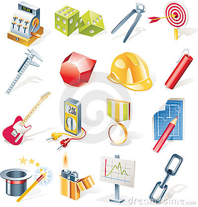 Free Vector Objects Icons Set. Part 13 Royalty Free Stock Image - 9203526