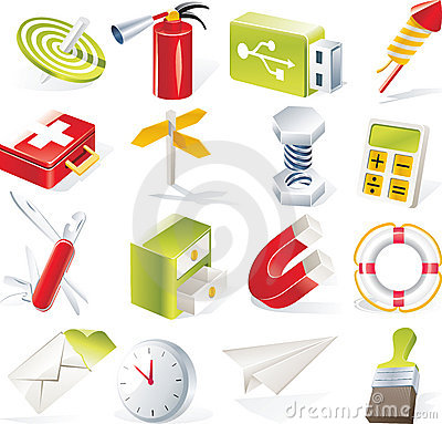 Free Vector Objects Icons Set. Part 6 Royalty Free Stock Image - 9084396