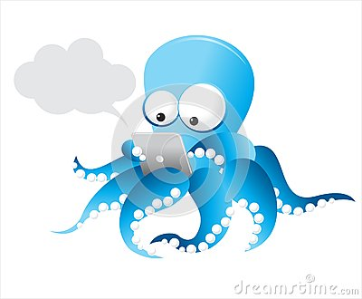 Vector Octopus with tablet