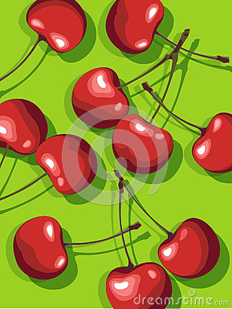 Free Vector Of Scattered Cherries Royalty Free Stock Images - 27370569