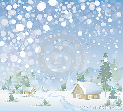 Free Vector Of Winter Landscape. Merry Christmas! Royalty Free Stock Photography - 30405667