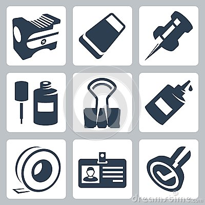Free Vector Office Stationery Icons Set Royalty Free Stock Photo - 34988285