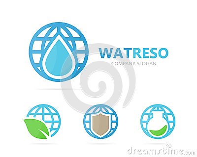 Vector of oil and planet logo combination. Drop and world symbol or icon. Unique water, aqua and globe logotype design Vector Illustration