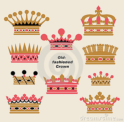 Vector old-fashioned crown sets